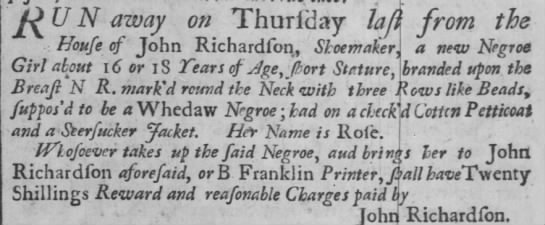 Runaway black girl - wearing a check'd cotton petticoat and a seersucker jacket 1734 PA -