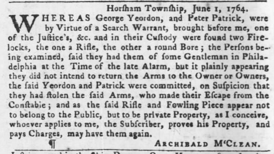 1764 stolen rifle Philidelphia -