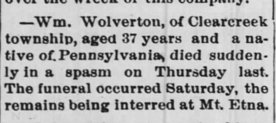 William Wolverton 1850-1887 death announcement -
