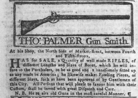 1773 add for rifles foe sale - At bis Shop, the North Side of Market -...