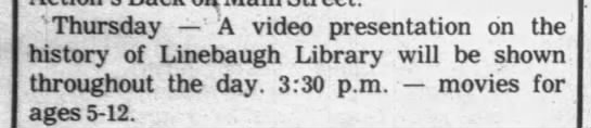 Video presentation on the history of Linebaugh Library -