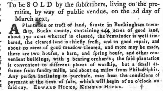 Not our Edward; he died 1762..unless this is Edward Hicks Jr. and a brother selling the property -