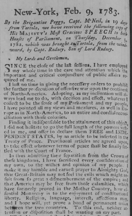 Report of George III's speech to Parliament 5 Dec 1782 -