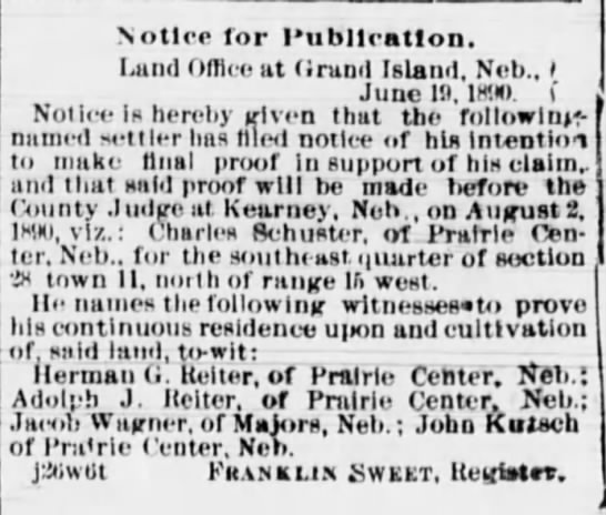 Charles Schuster final proof notice. -