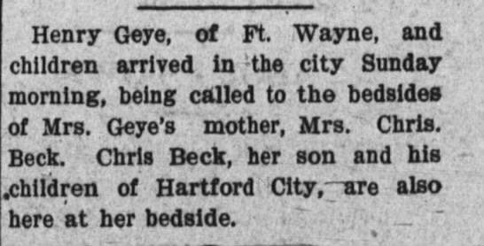Elizabeth K Beck Geye -