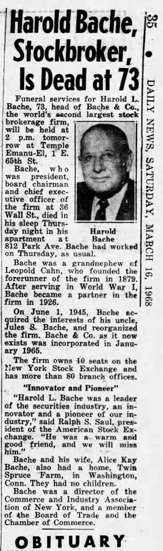 Obituary for Harold L. Bache (Aged 73) -