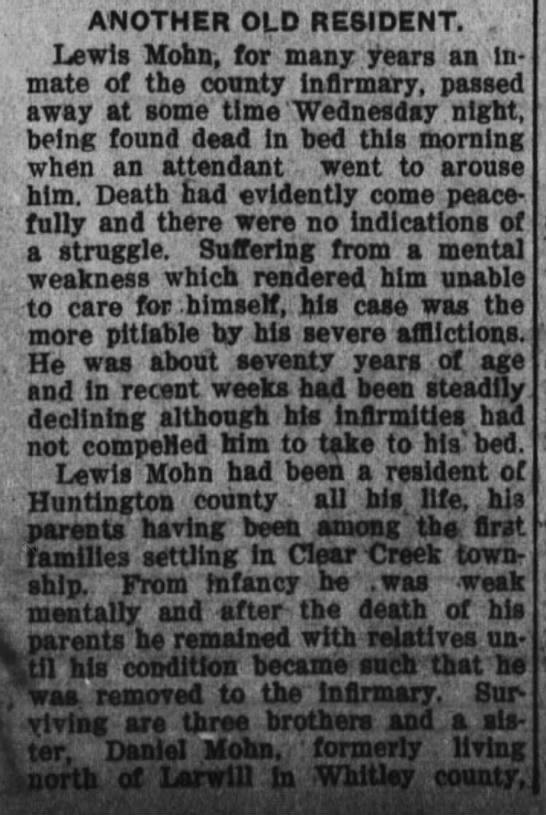 Lewis Mohn-death; Daily News-Democrat, July 14, 1910 pg 1   - part 1 -