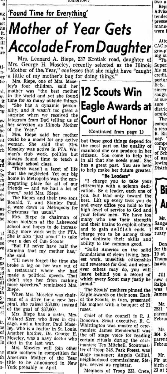 chicago heights star 2 mar 1954 mrs george h moseley -