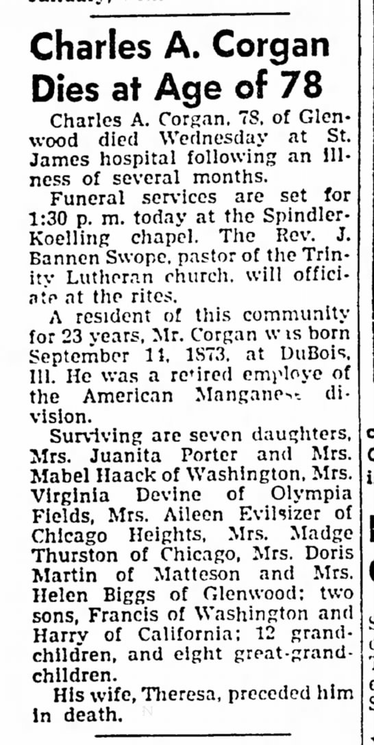 Charles A. Corgan obituary in Chicago Heights Star (Illinois) 4 January 1952 -