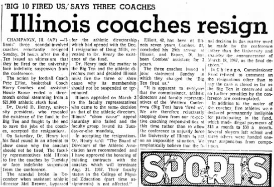 1967 Elliott resigns at Illinois -