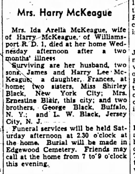 Ida Arella McKeague (Black) dies -