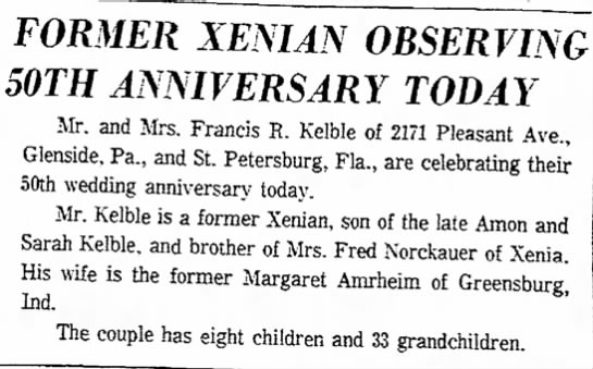Francis R. Kelble Anniversary - 11 Sept 1965 -