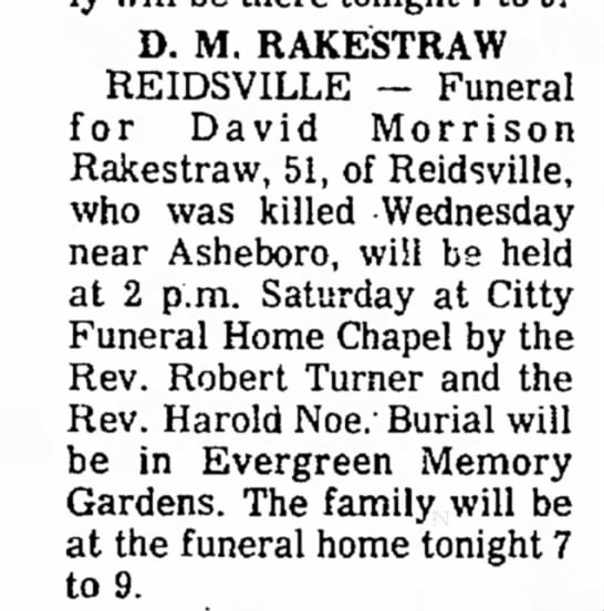 Obit for David M Rakestraw - Newspapers com