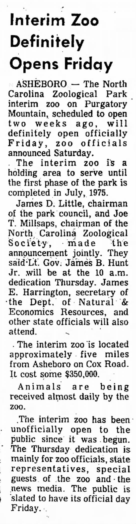 James D Little chairman - NC Zoo opening - The High Point Enterprise, 28 Jul 1974, pg 2 -