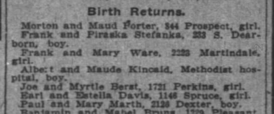 Paul and Mary birth announcement 1917 -