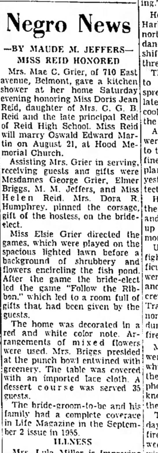 DORIS JEAN REID - DAUGHTER OF RCG REID, PRINCIPAL - 08-12-1957 -