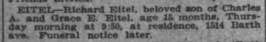 Eitel, Richard - Death Notice; The Indianapolis News, 26 Jan 1911, pg 14 -