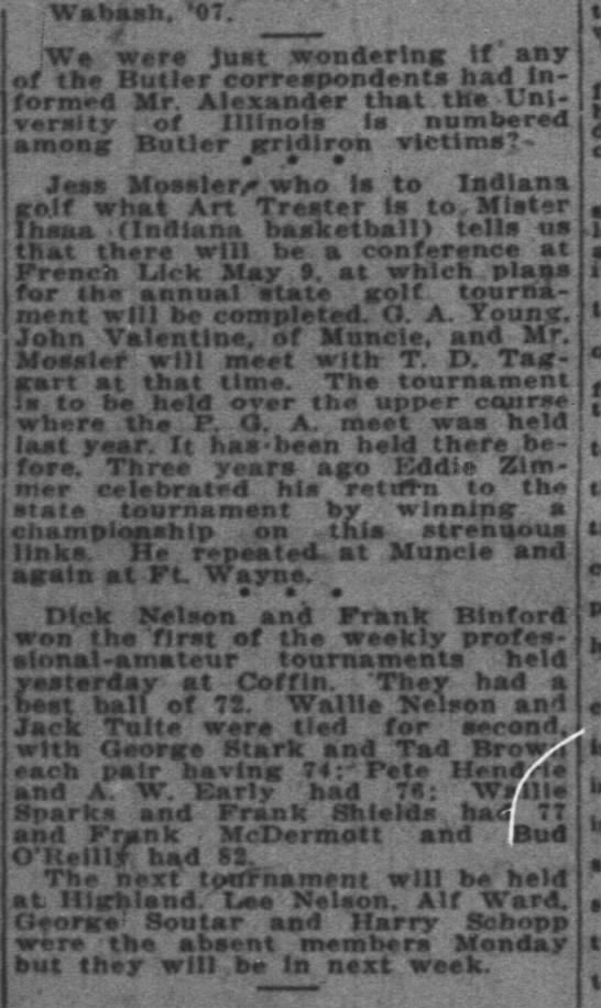 Alf Ward absent from tournament 21 April 1925. -