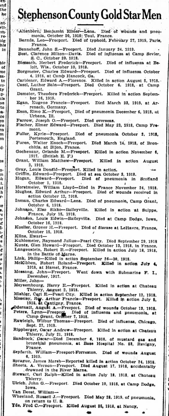 Stephenson County Gold Star Men 11 November 1921  Freeport Journal Standard, Freeport, Illinois -