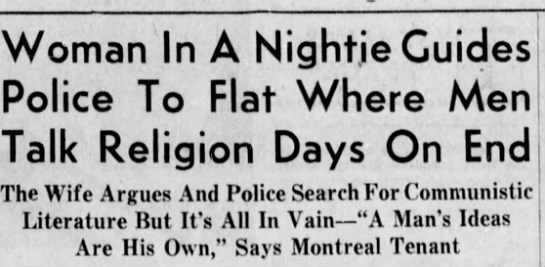 A Mrs. Gaucher reported this. - Woman In A Nightie Guides Police To Flat Talk...
