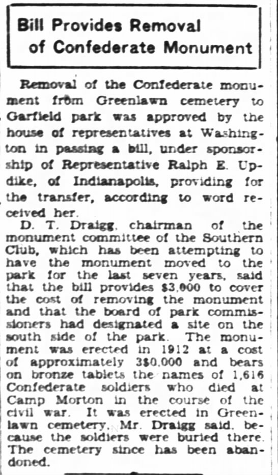 """Bill Provides Removal of Confederate Monument"" - IndyStar; April 3, 1928 -"