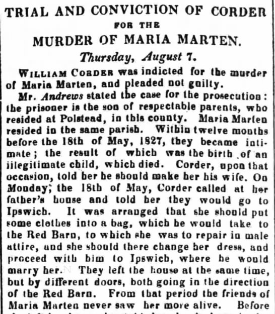 Trial and Conviction of Corder for the Murder of Maria Marten -