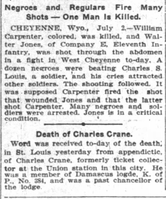 Charles Crane death announcement 2 Jul 1904 -