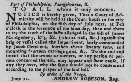 Jacob Getcheus Legal Announcement 15 Jun 1779 -