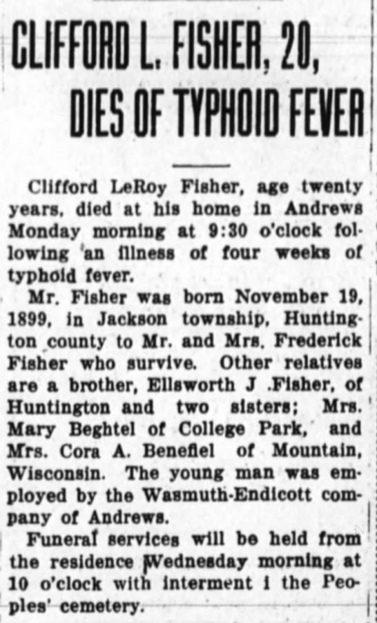 - CLIFFORD L FISHER, 20, I Clifford LeRov Fisher,...
