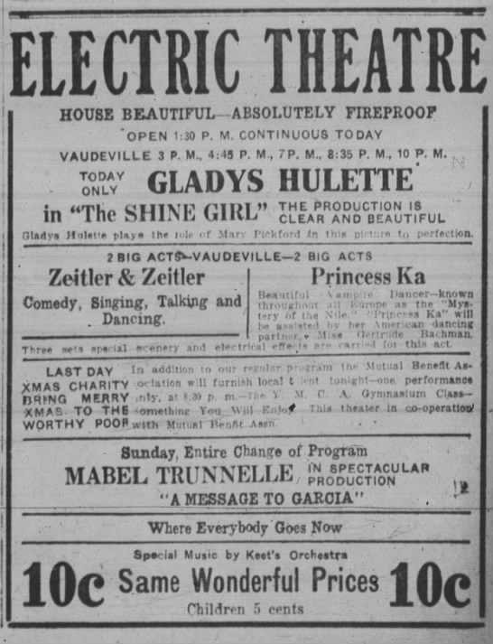 Electric Theatre ad Dec. 16, 1916_ Spfld. Repub -