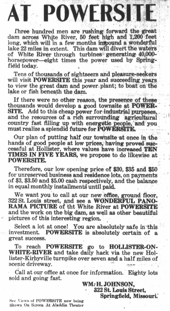 1912, 6-12 JOhnson advertises lots at Powersite Dam on White River -