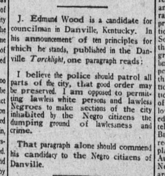 Rev. Wood runs for city council (he won). 1921 -