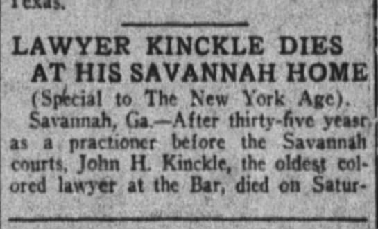 John H Kinckle dies in Savannah -