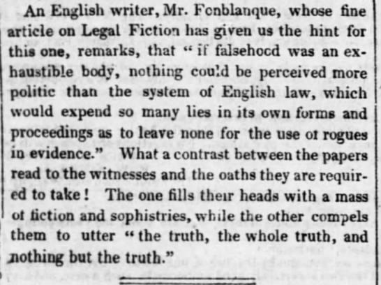Legal Fiction by Fonblanque -