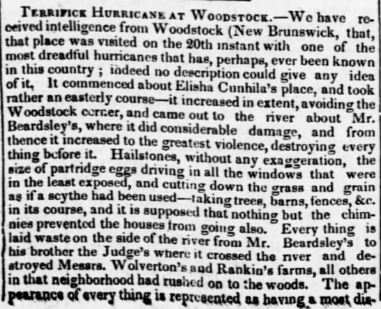 Terrifick Hurricane at Woodstock (1836) -