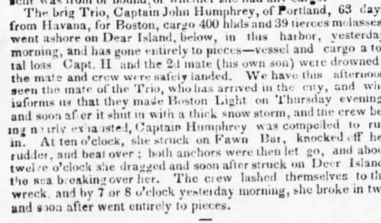 Sinking of the Brig Trio, NY Evening Post 2.21.1837 -