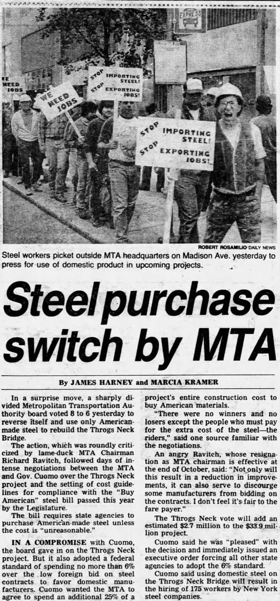 Steel purchase switch by MTA -