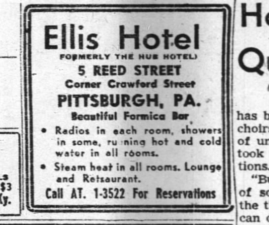 Ad for Ellis Hotel, formerly the Hue Hotel at 5 Reed St , corner of