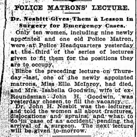 Isabella Goodwin is appointed to be a police matron, 1896 -