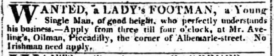 """No Irishman need apply"" (1809). -"