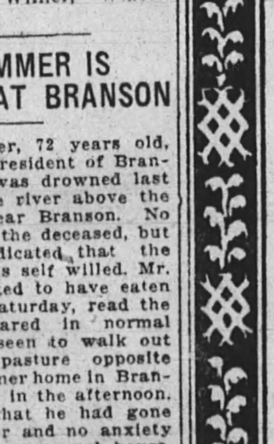 john plummer branson mo drown - IS AT BRAN5UIM 7 year old, resioent 01 was...