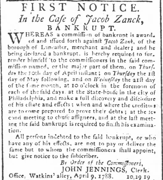 Jacob Zank Philadelphia, PA 10 April 1788 -