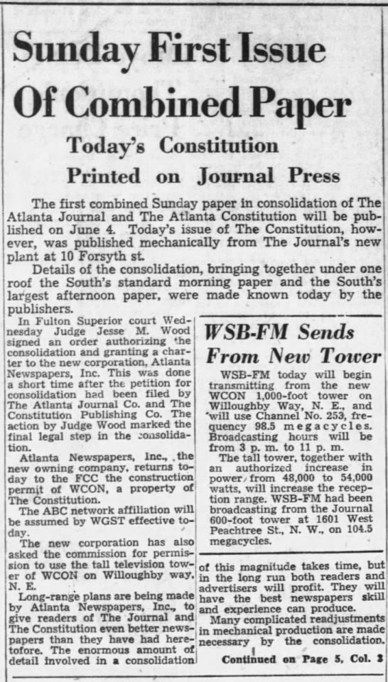 The Atlanta Constitution and The Atlanta Journal Merge -