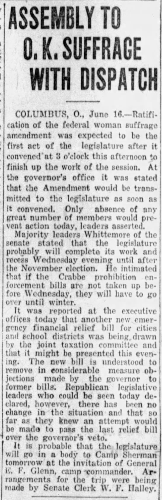 Assembly to O. K. Suffrage with Dispatch. The Dayton Daily News (Dayton, Ohio) 16 June 1919, p 9 -