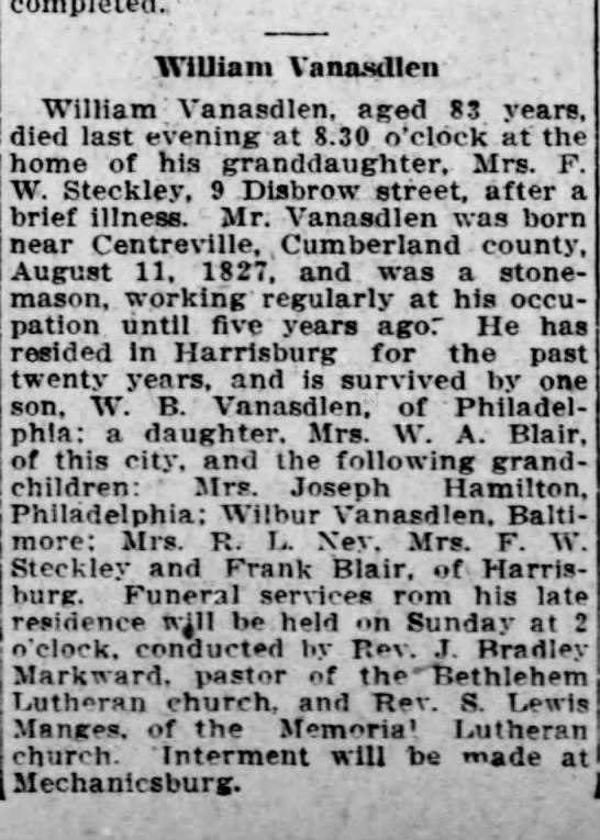 William Vanasdlen death notice, 13 May 1910, Harrisburg, Pennsylvania. -