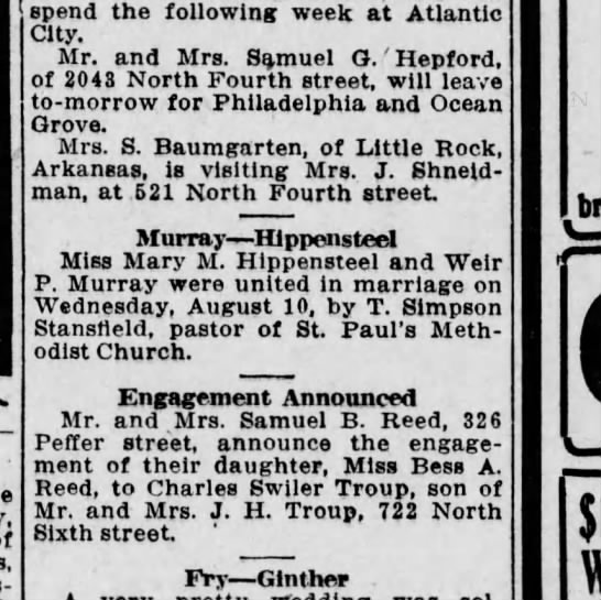 1910 August 12 Harrisburg Telegraph - spend the following week at Atlantic City. Mr....