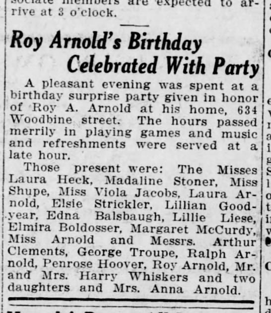 Roy Arnold's Bday party - are expected to arrive at 3 o'clock. Roy...