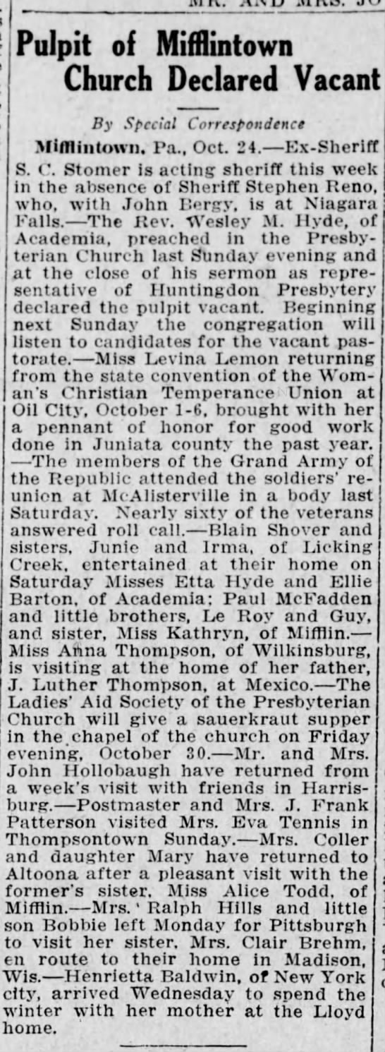 1914 Miss Anna Thompson of Wilkinsburg visits j Luther at Mexico -