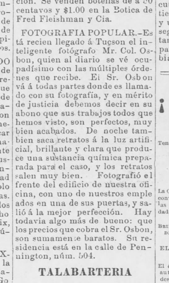 Cal Osbon - 12 April 1890 - El Fronterizo, Tucson AZ -