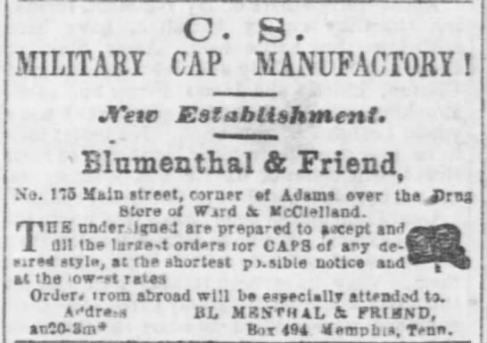 Blumenthal and Friend Grand opening 1861 -